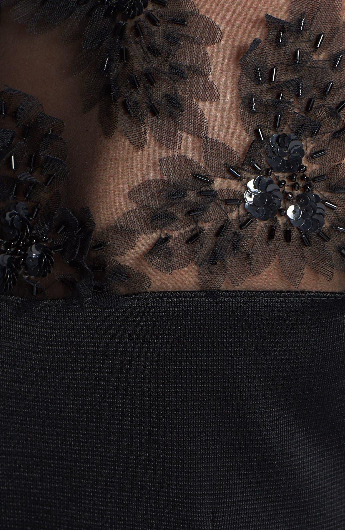 Alternate Image 3  - St. John Collection Tulle Trim Sateen Milano Knit Peplum Gown