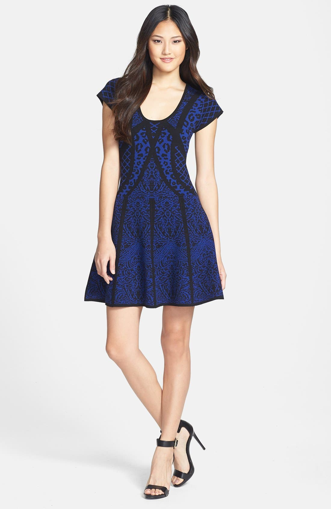 Main Image - Nicole Miller Mixed Pattern Fit & Flare Sweater Dress