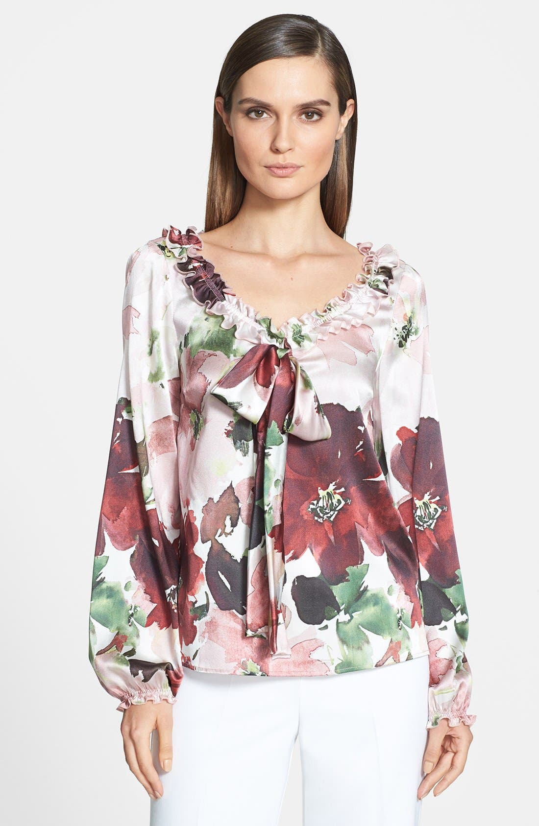 Main Image - St. John Collection Garden Floral Print Charmeuse Bow Blouse