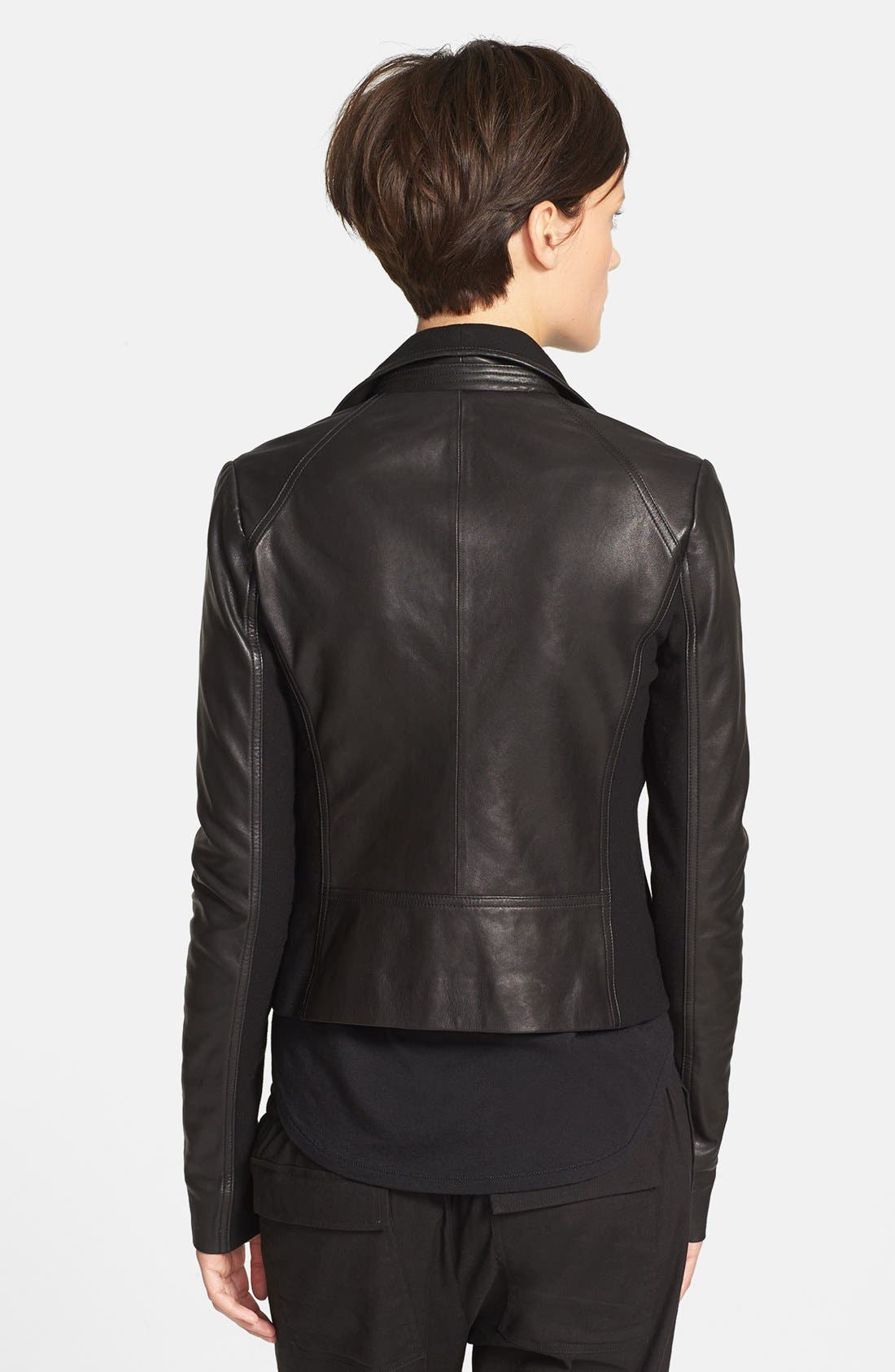 Alternate Image 2  - Vince Side Zip Leather Jacket with Ponte Contrast