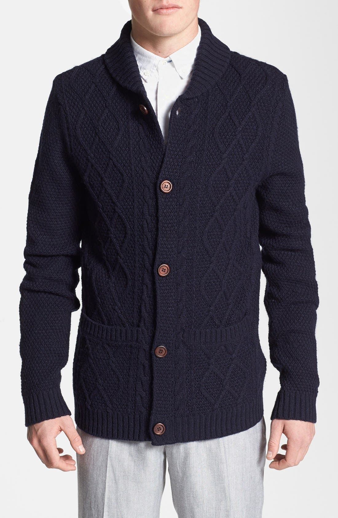 Alternate Image 1 Selected - Topman Cable Knit Shawl Cardigan