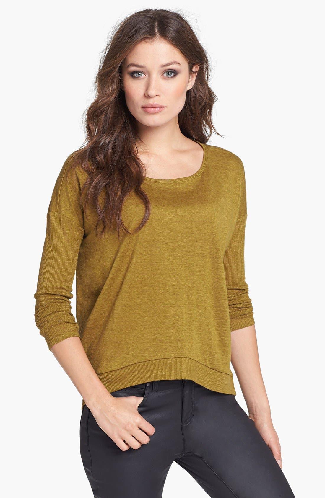 Alternate Image 1 Selected - Eileen Fisher Sloped Hem Organic Linen Top