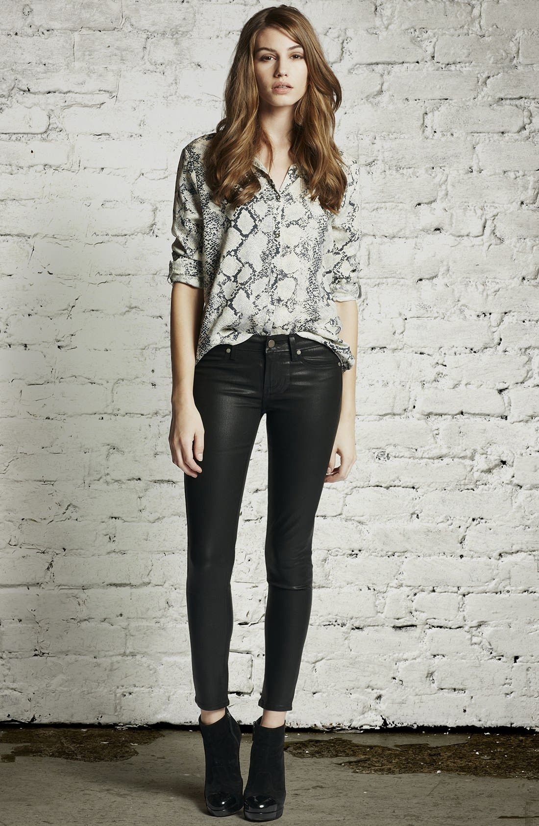 Alternate Image 4  - Paige Denim 'Verdugo' Ankle Coated Skinny Jeans (Black Silk)