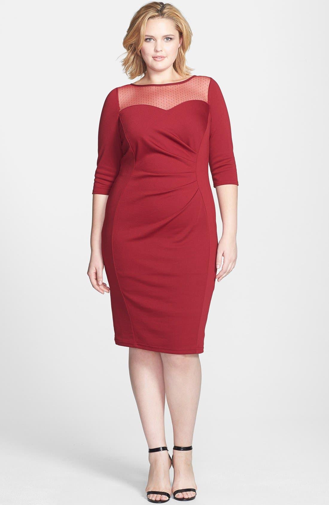 Main Image - Scarlett & Jo Dot Yoke Side Pleat Sheath Dress (Plus Size)