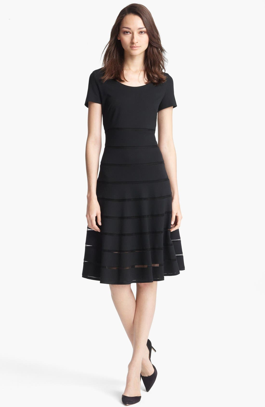 Main Image - ESCADA 'Dondi' Mesh Stripe Flared Dress