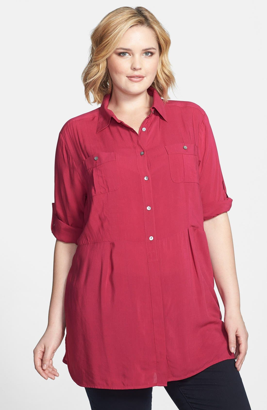 Alternate Image 1 Selected - Sandra Ingrish Button Tab Sleeve Tunic (Plus Size)