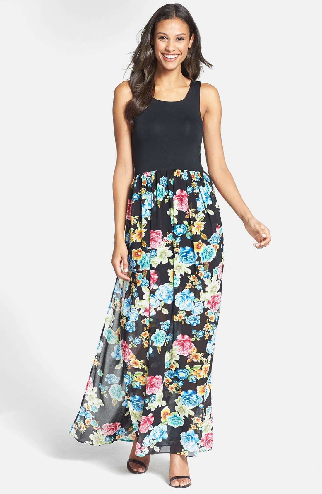 Main Image - Felicity & Coco Knit Bodice Floral Maxi Dress (Nordstrom Exclusive) (Regular & Petite)