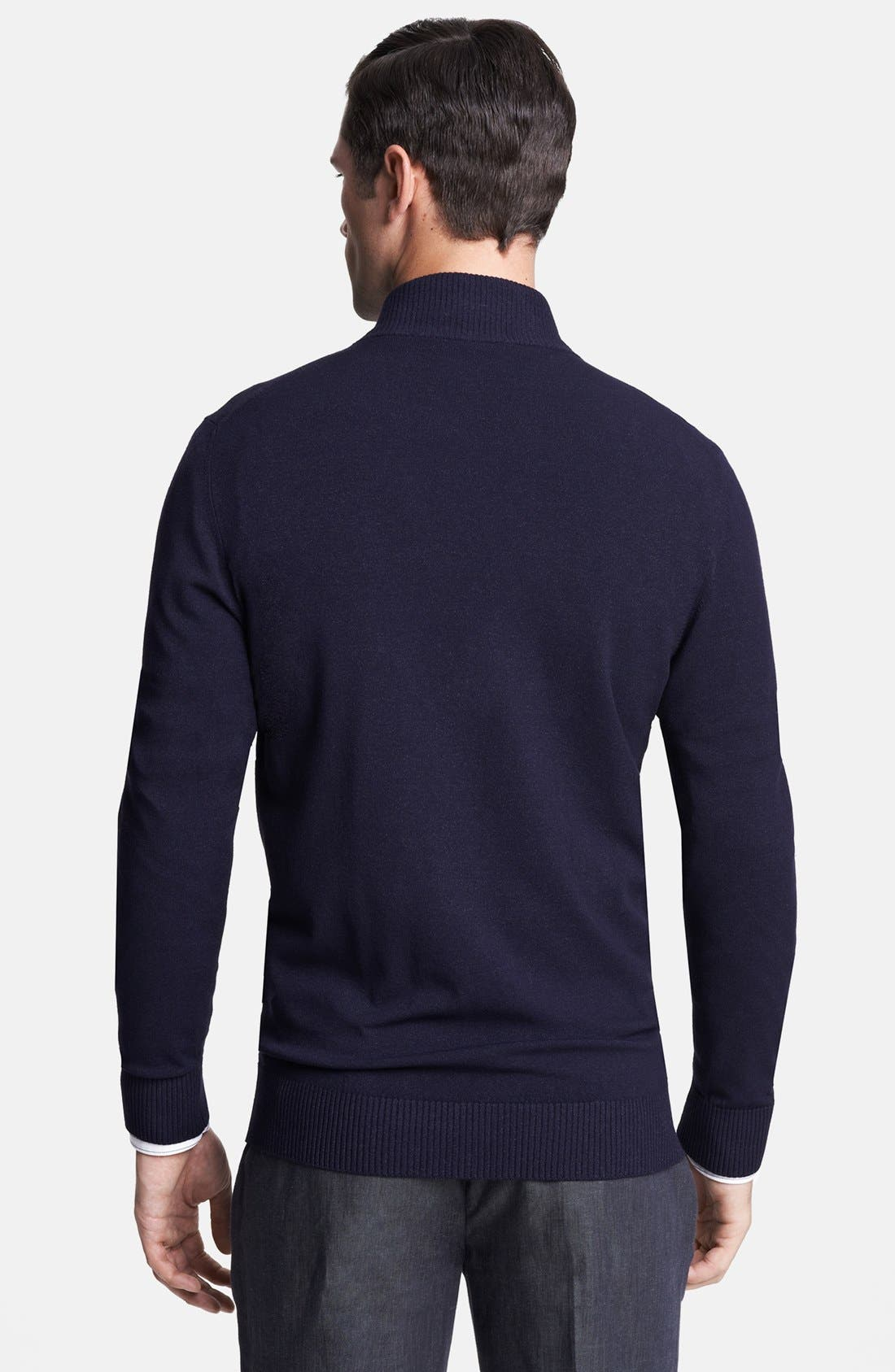 Alternate Image 2  - Armani Collezioni Mock Neck Zip Sweater