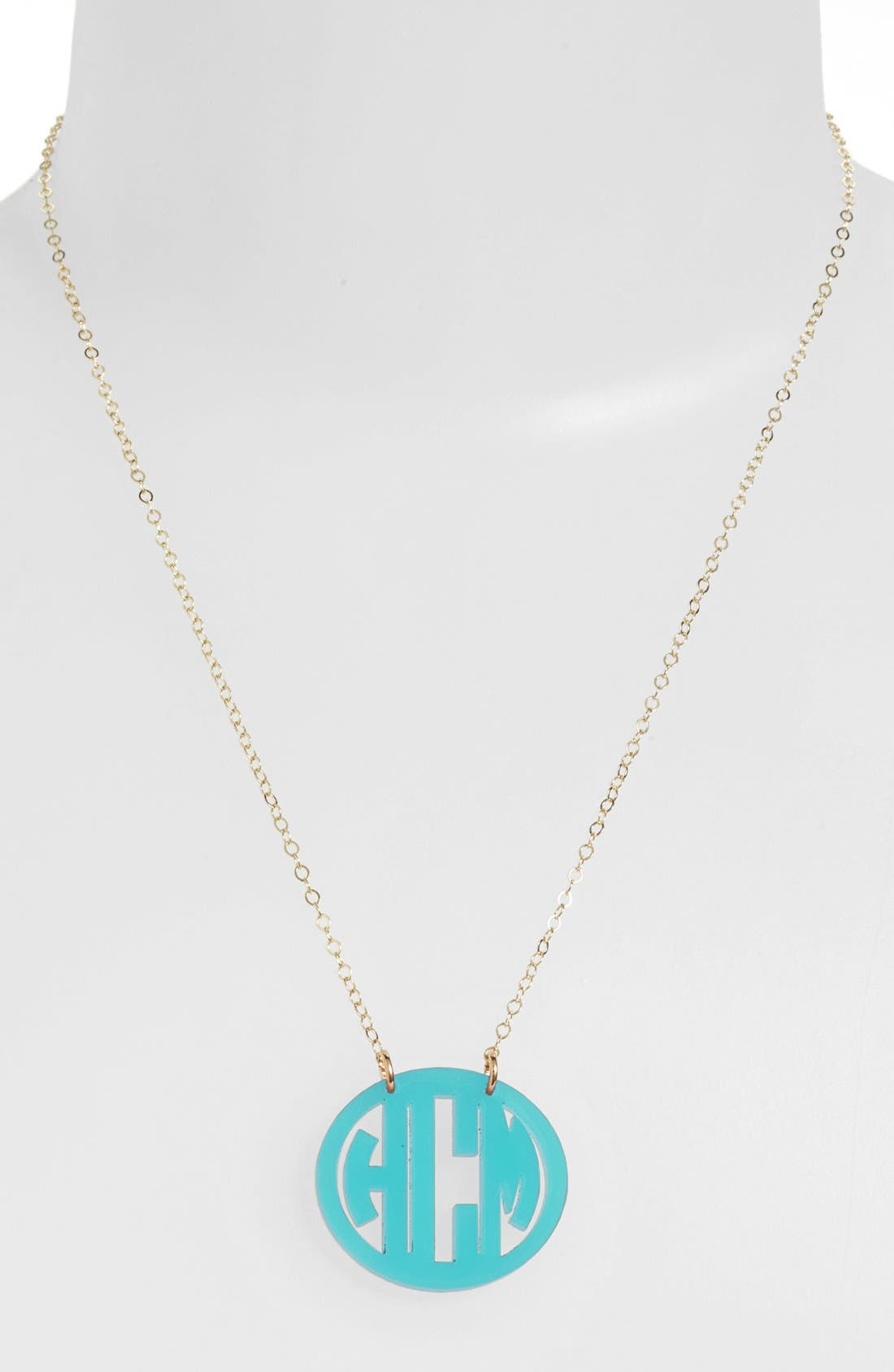 MOON AND LOLA Small Personalized Monogram Pendant Necklace (Nordstrom Exclusive) in Robins Egg/ Gold