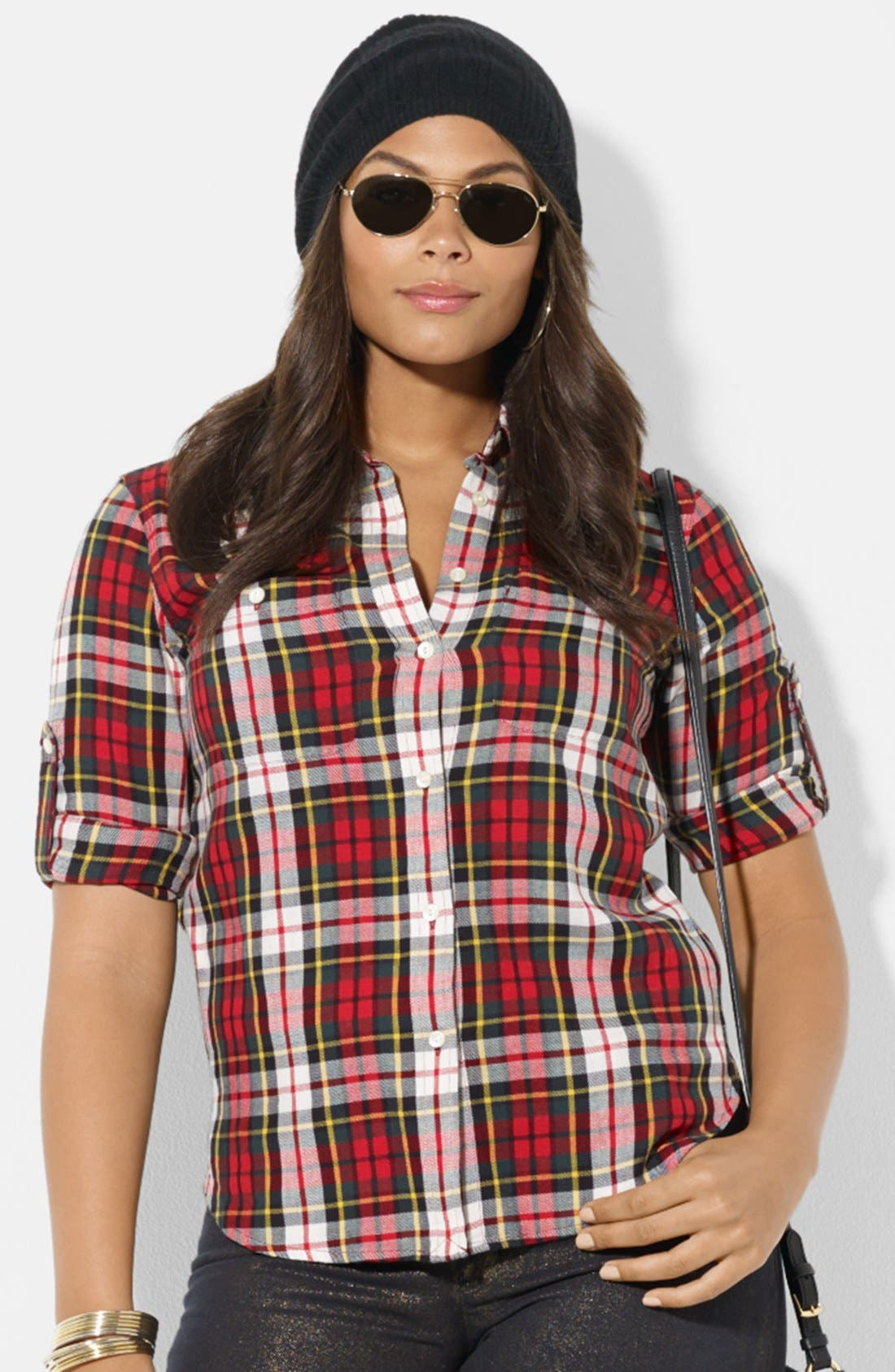 Alternate Image 1 Selected - Lauren Ralph Lauren Plaid Work Shirt (Plus Size)