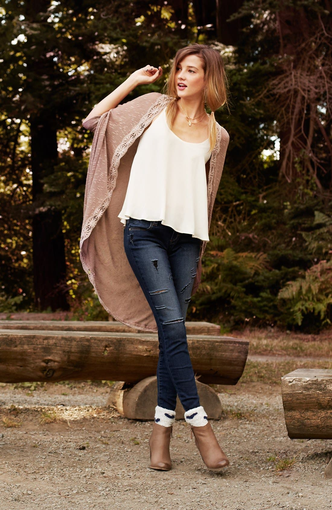 Main Image - Painted Threads Cardigan, Lush Camisole & STS Blue Jeans
