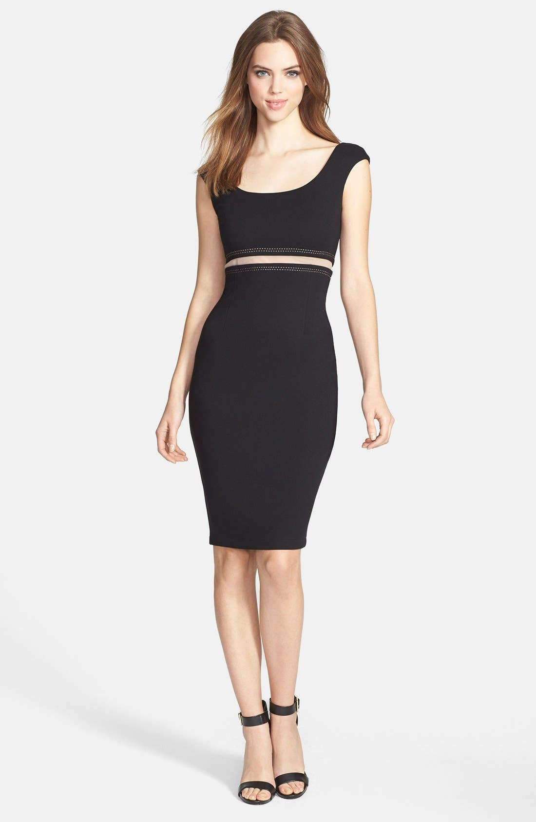 Alternate Image 1 Selected - B44 Dressed by Bailey 44 'Bardot' Illusion Waist Ponte Sheath Dress
