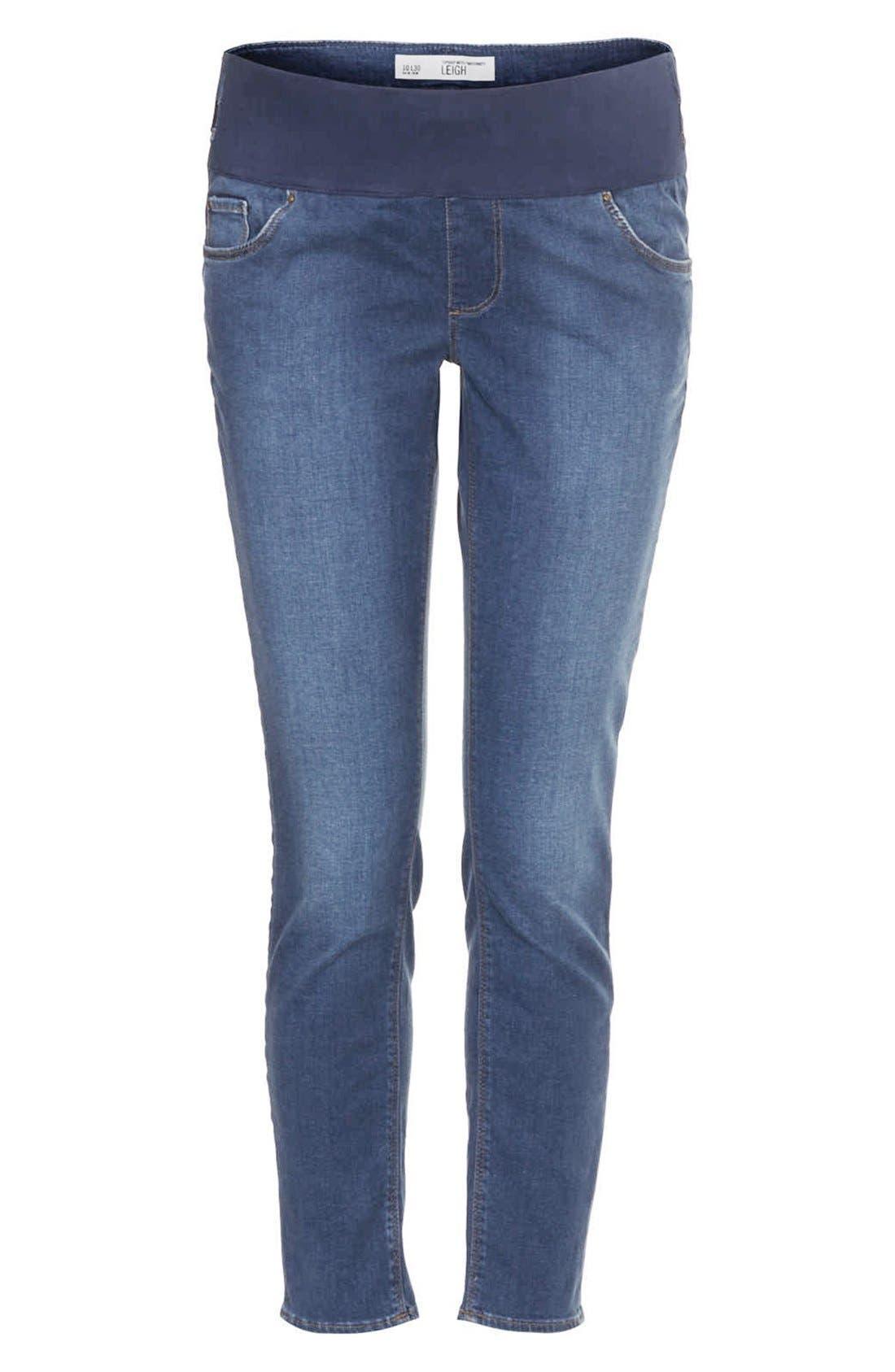 Alternate Image 3  - Topshop Moto 'Leigh' Skinny Maternity Jeans (Short)(Mid Stone)