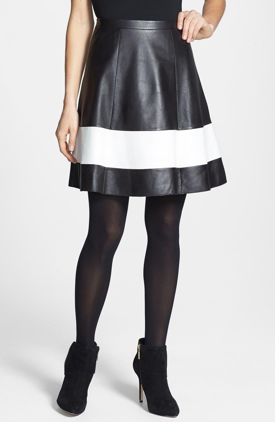 Alternate Image 1 Selected - Halogen® Contrast Border Flared Leather Skirt