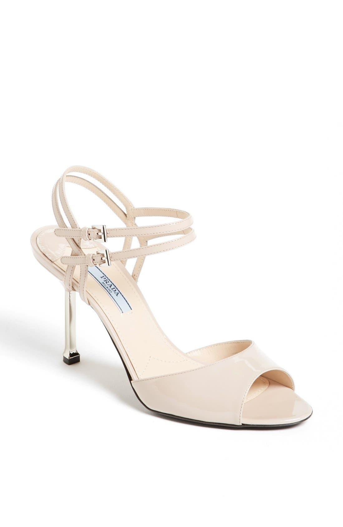 Main Image - Prada Double Ankle Buckle Metal Heel Sandal