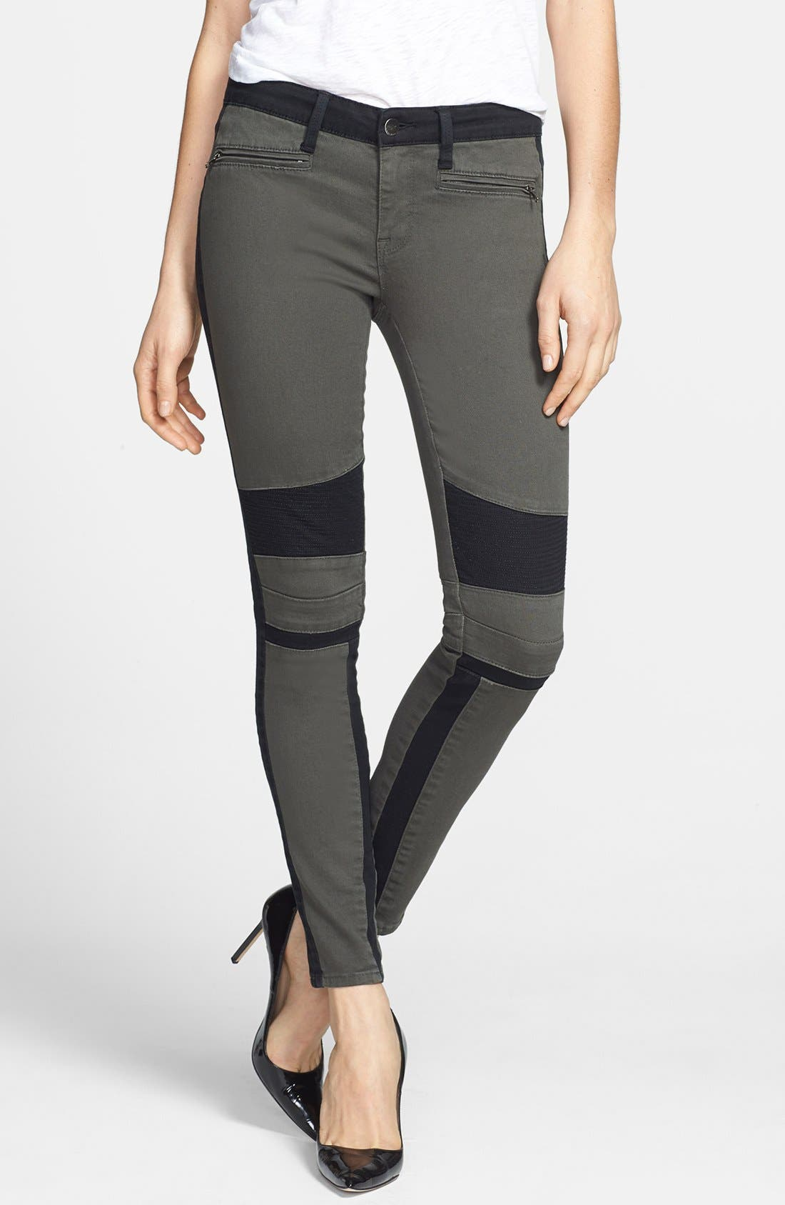 Main Image - Genetic 'Sadie' Two-Tone Moto Skinny Jeans (Chrome)