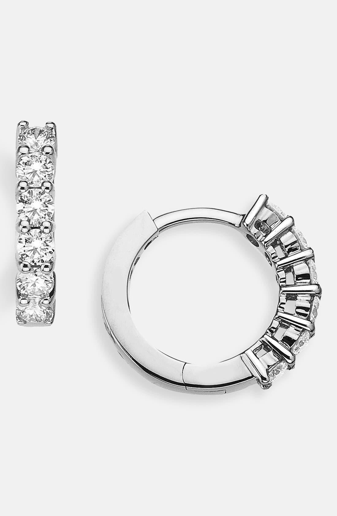 Diamond Huggie Hoop Earrings,                         Main,                         color, White Gold