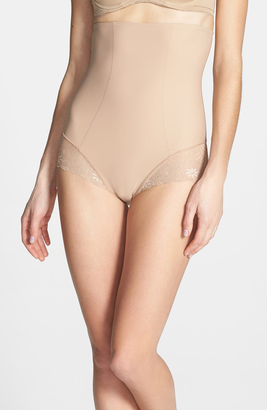 'Top Model' High Waist Shaping Briefs,                             Main thumbnail 1, color,                             Nude