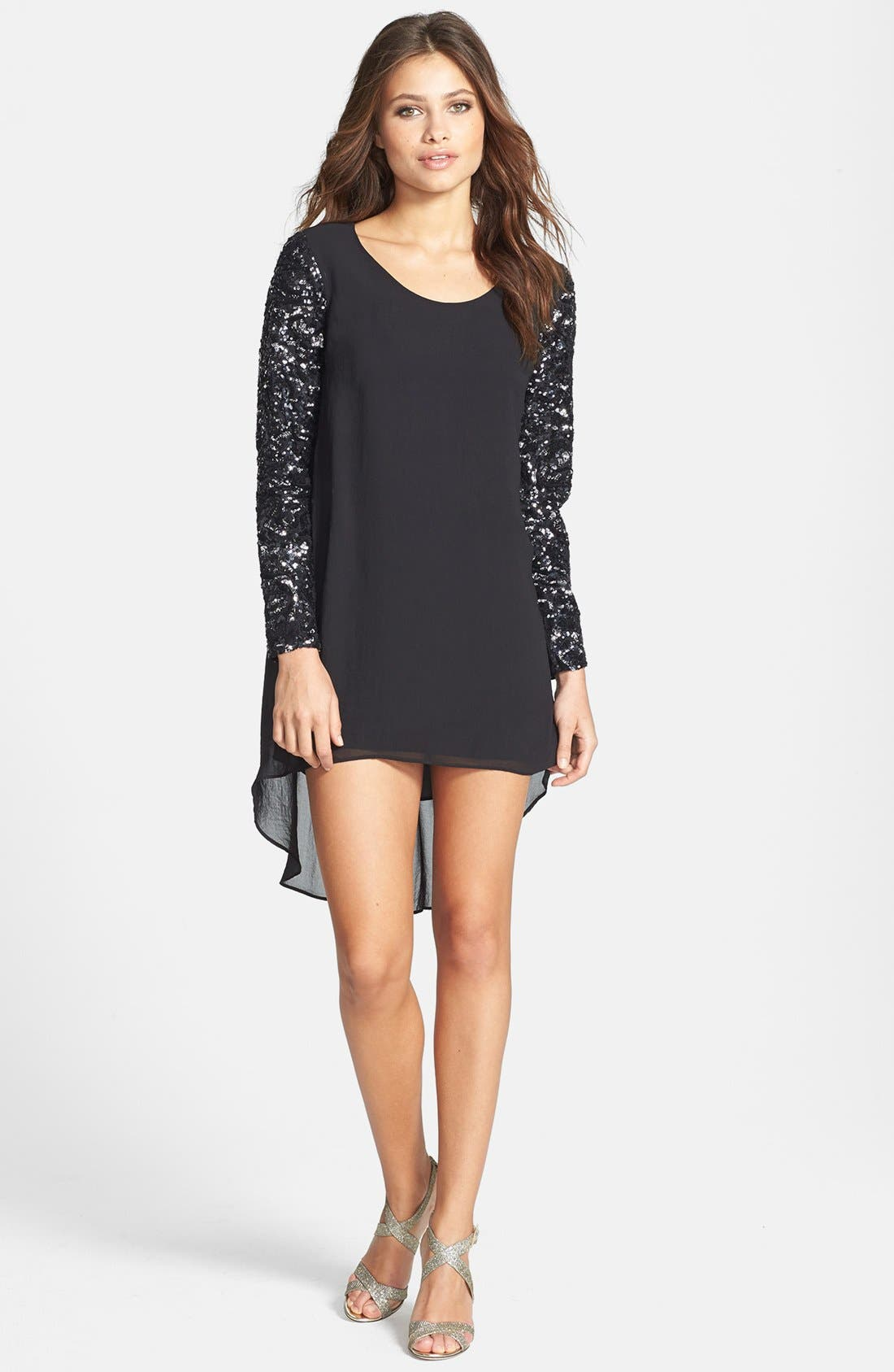Alternate Image 3  - Dress the Population 'April' Sequin Sleeve High/Low Chiffon Shift Dress