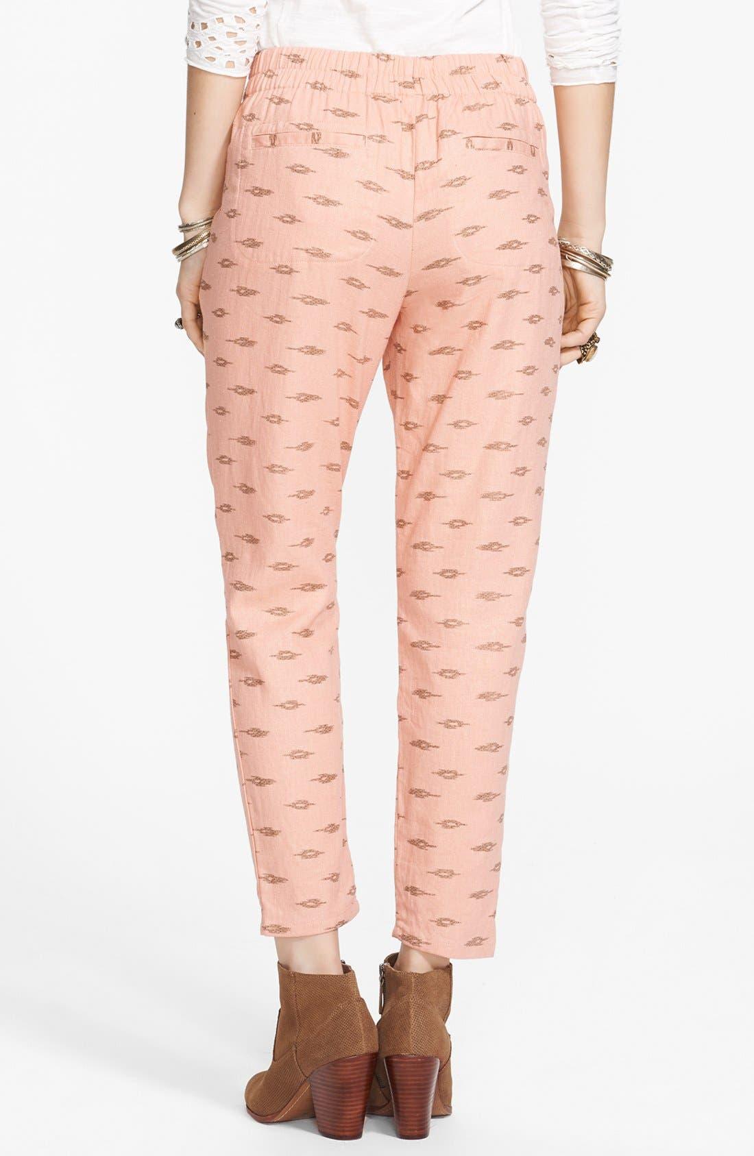Alternate Image 2  - Free People 'Easy Pleat' Print Linen Blend Pants