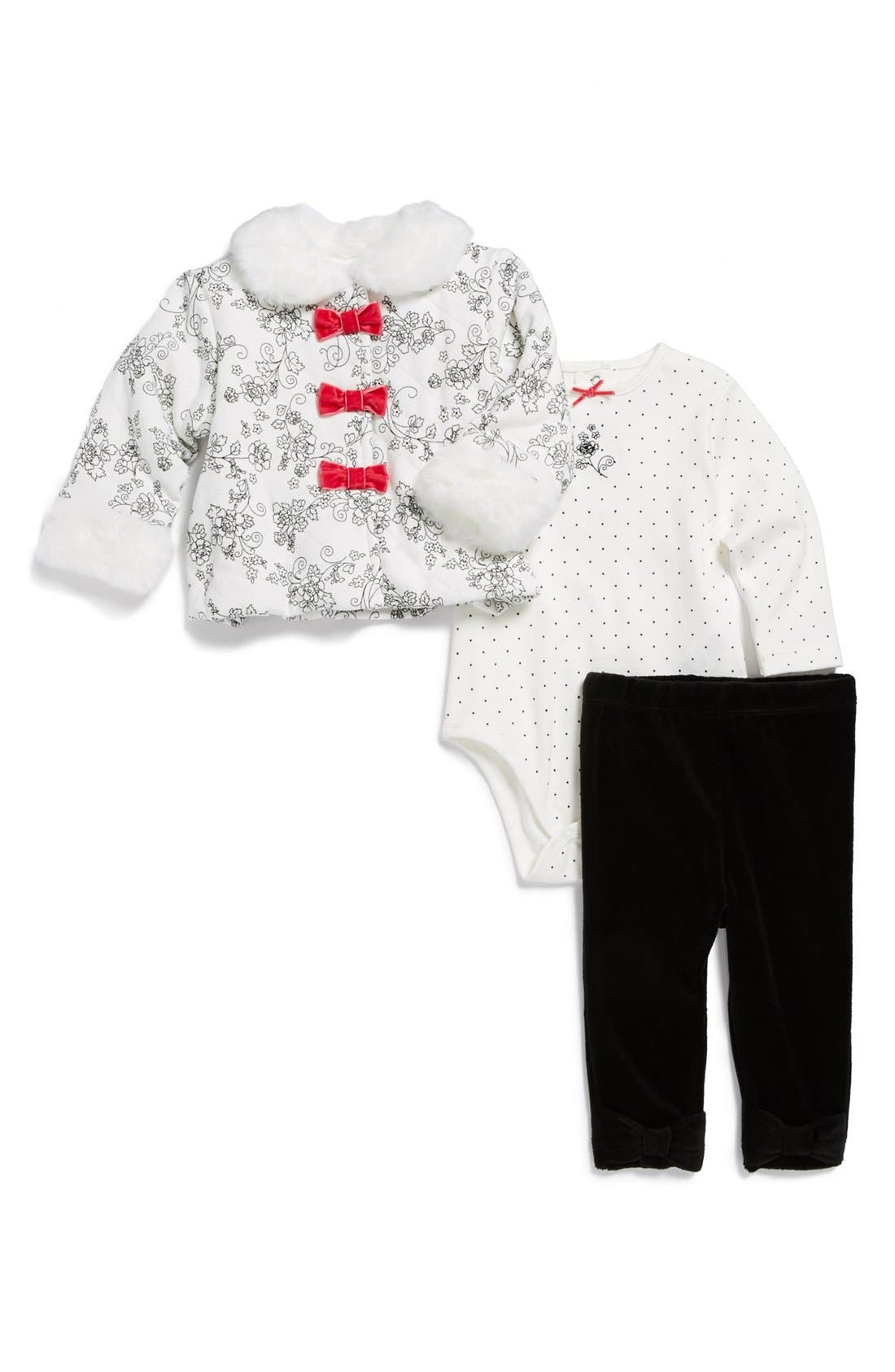 Main Image - Little Me 'Etched Roses' Coat, Bodysuit & Leggings (Baby Girls)