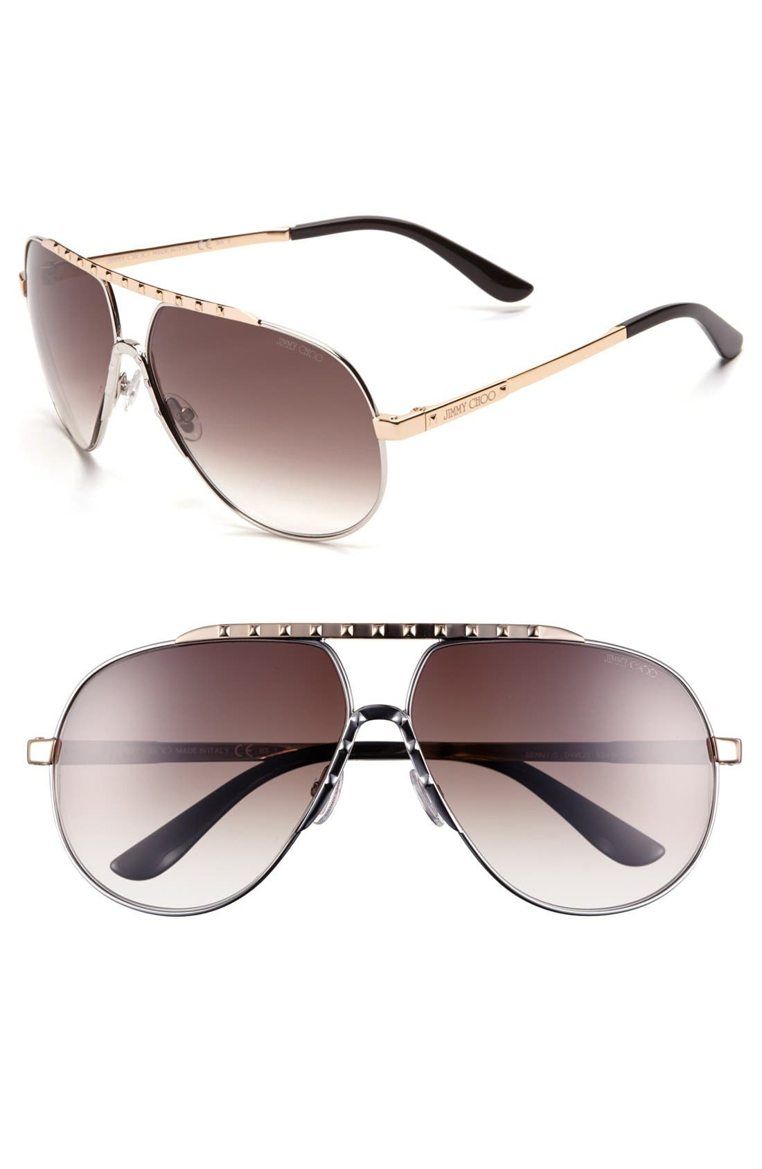 Main Image - Jimmy Choo 62mm Stainless Steel Aviator Sunglasses