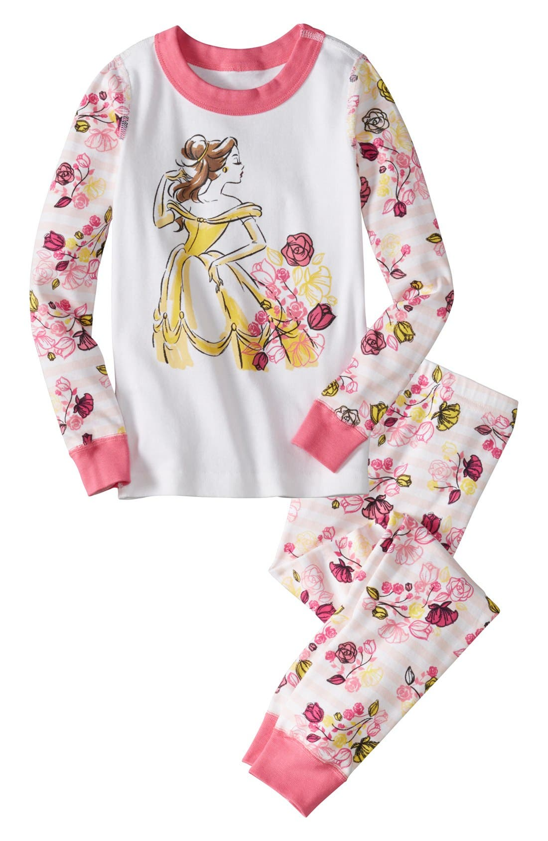 Main Image - Hanna Andersson 'Disney Princess - Belle' Two-Piece Fitted Pajamas (Toddler Girls)