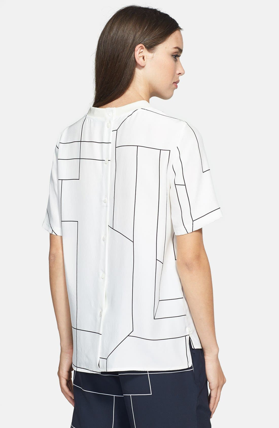Alternate Image 2  - Theory 'Klima' Back Button Geometric Print Silk Top