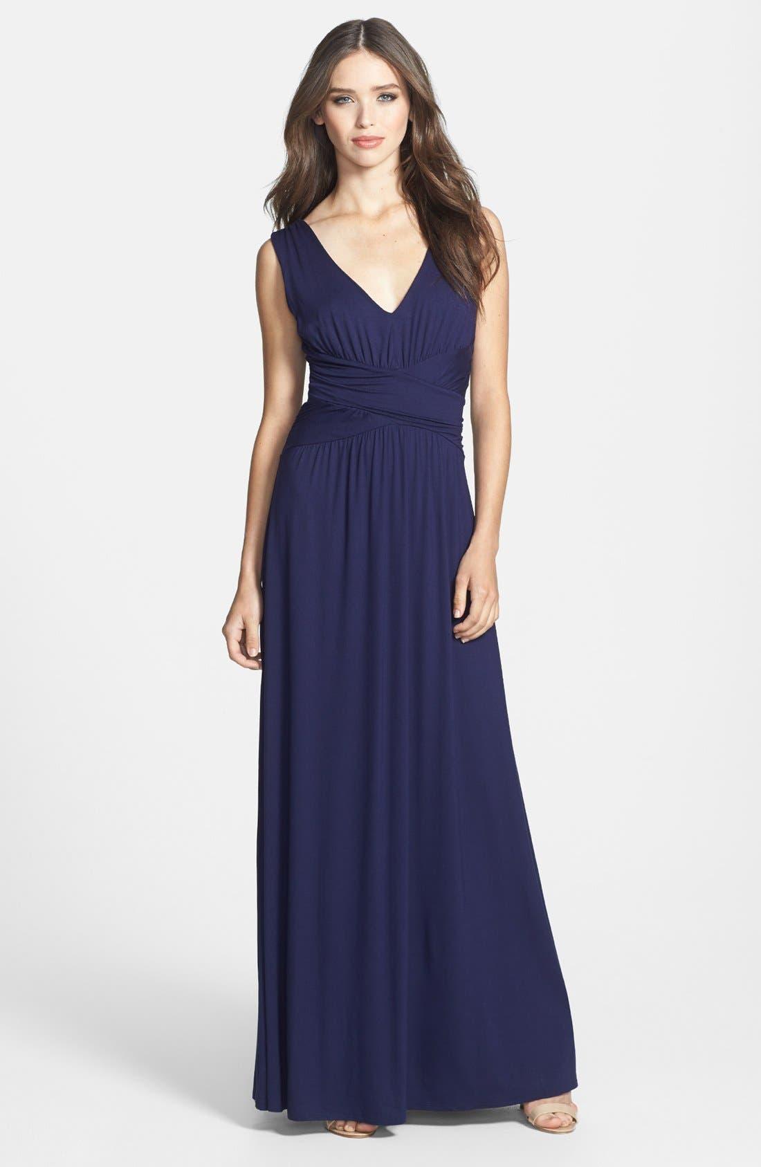 Alternate Image 1 Selected - Three Dots V-Neck Jersey Maxi Dress