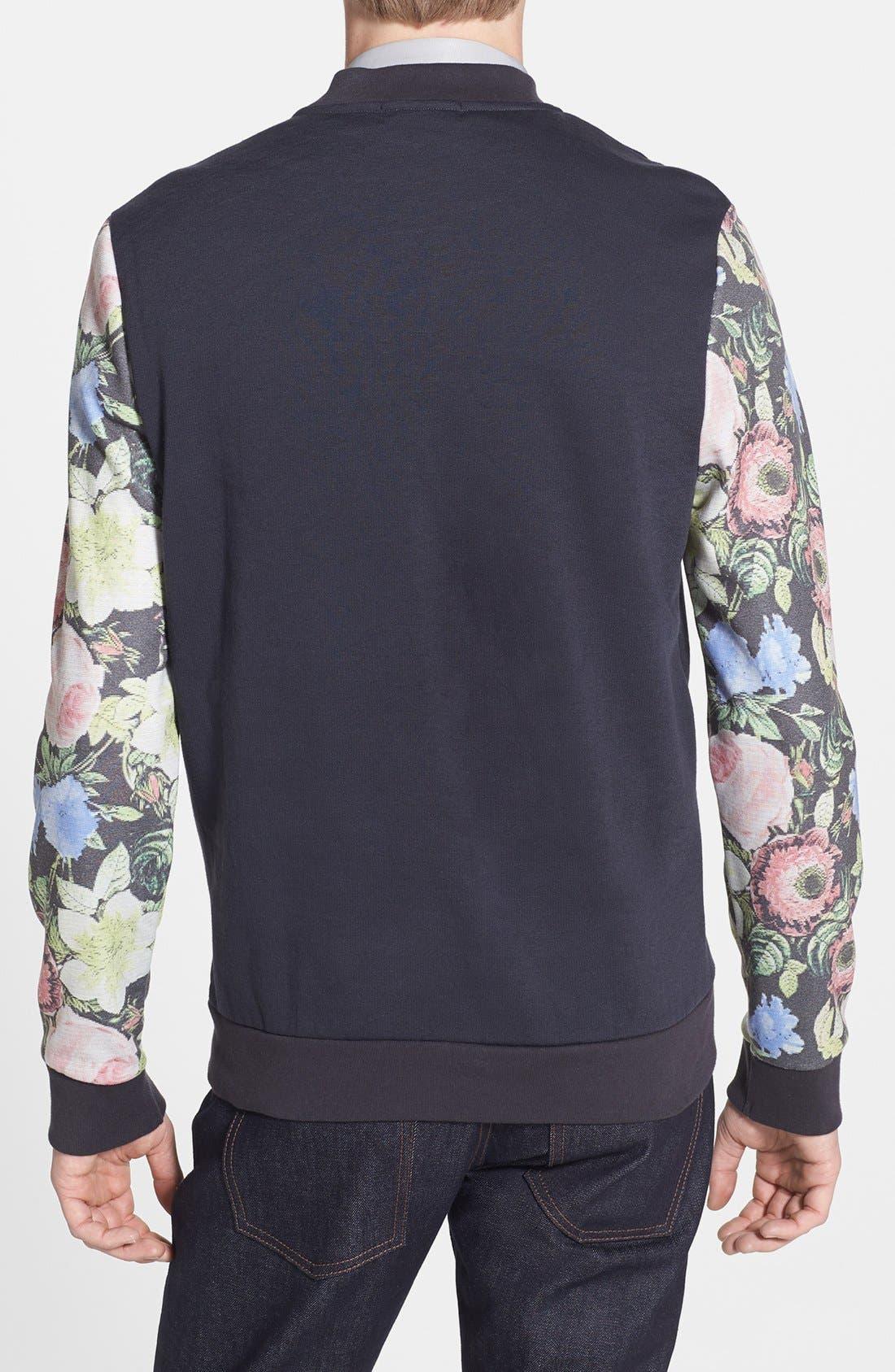 Alternate Image 2  - Topman Floral Sleeve Print Jersey Bomber Jacket