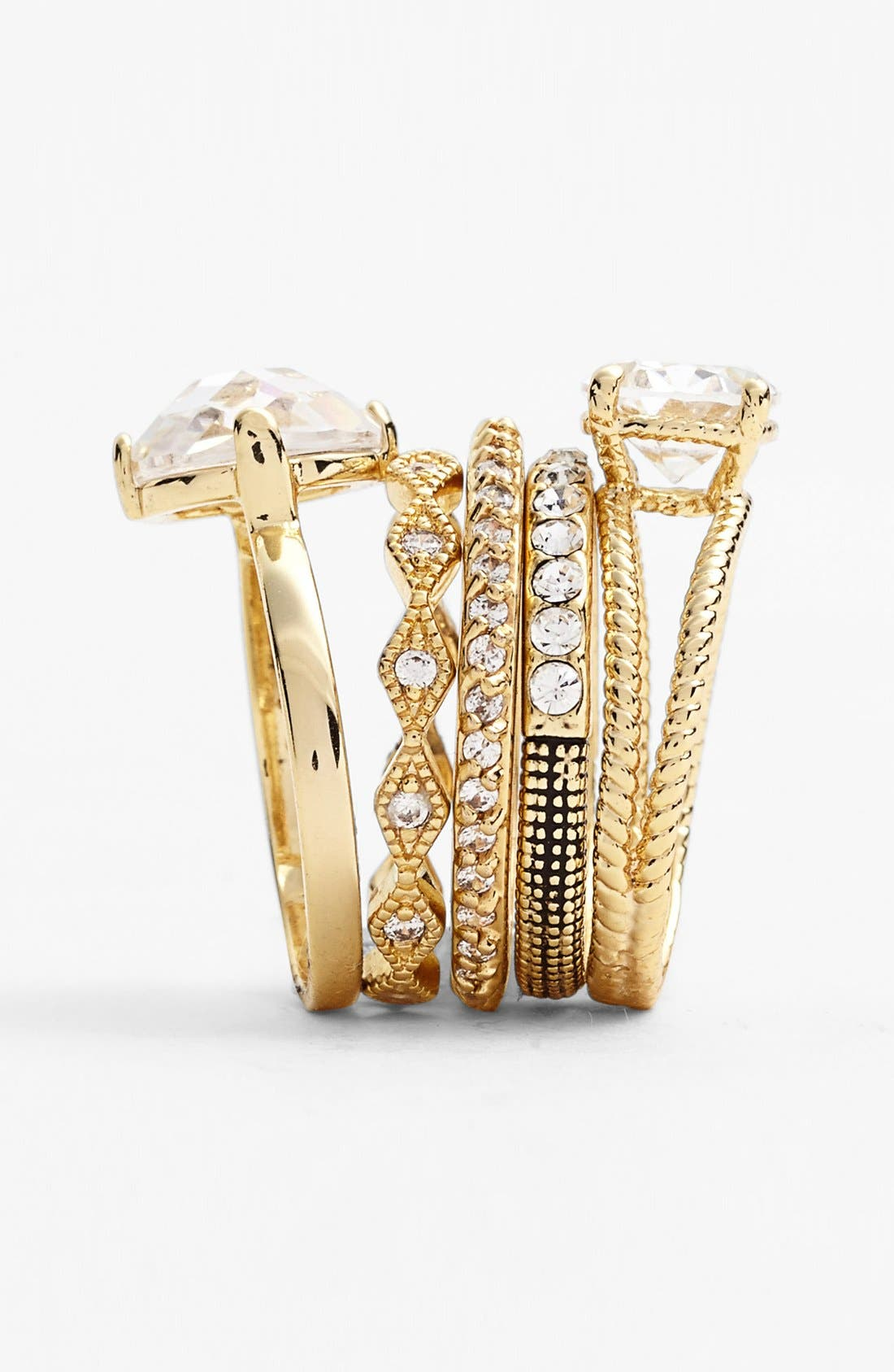 Mixed Stackable Rings,                             Alternate thumbnail 2, color,                             Clear/ Gold