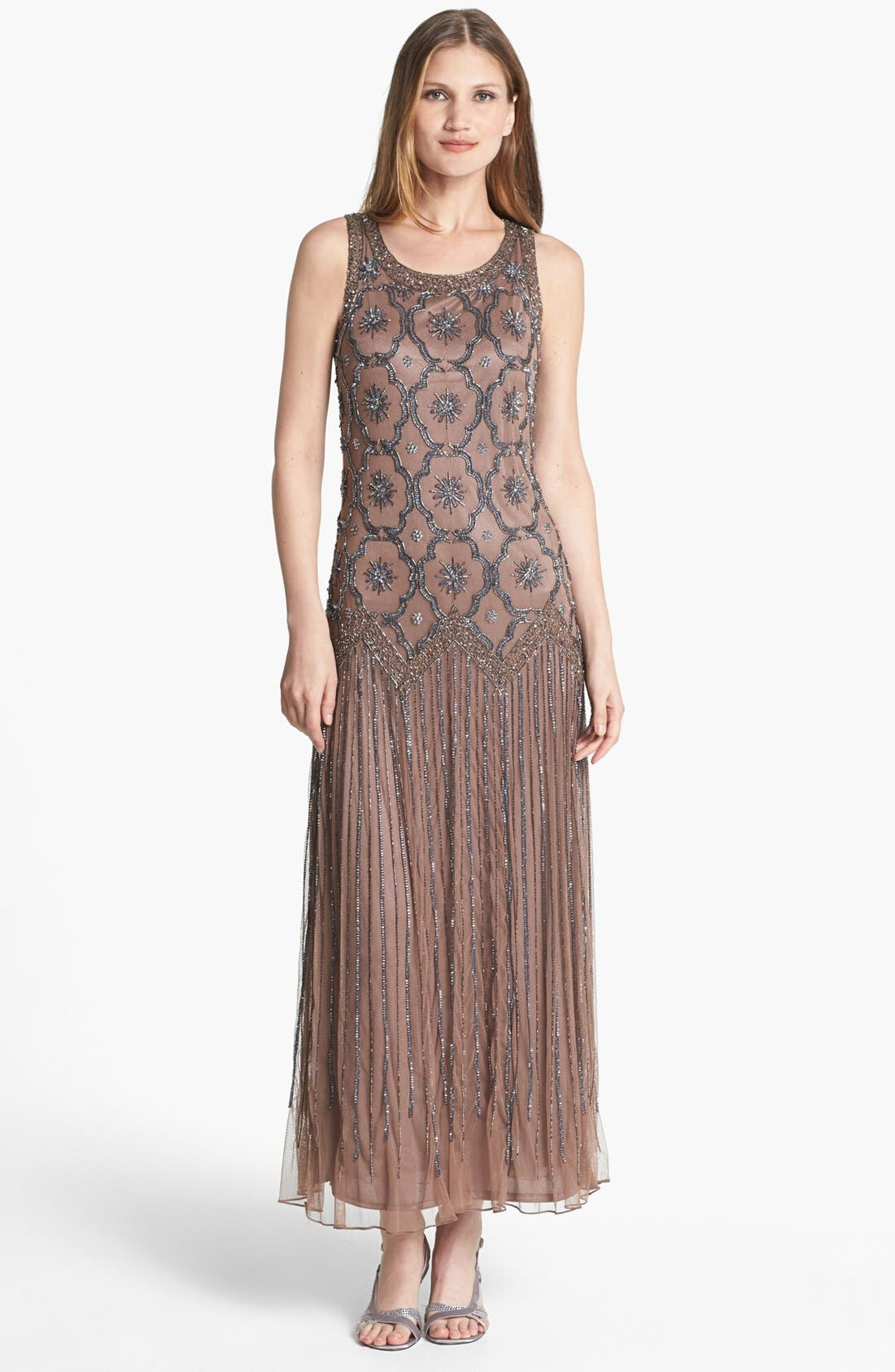 Main Image - Pisarro Nights Embellished Drop Waist Midi Dress