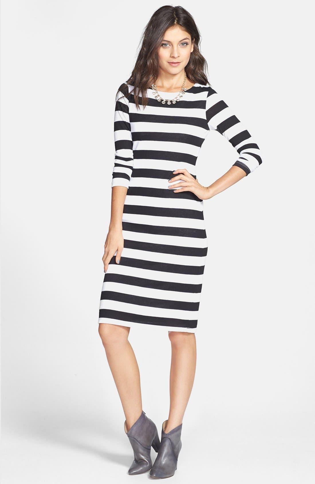 Alternate Image 1 Selected - Minty Stripe Midi Dress (Juniors)