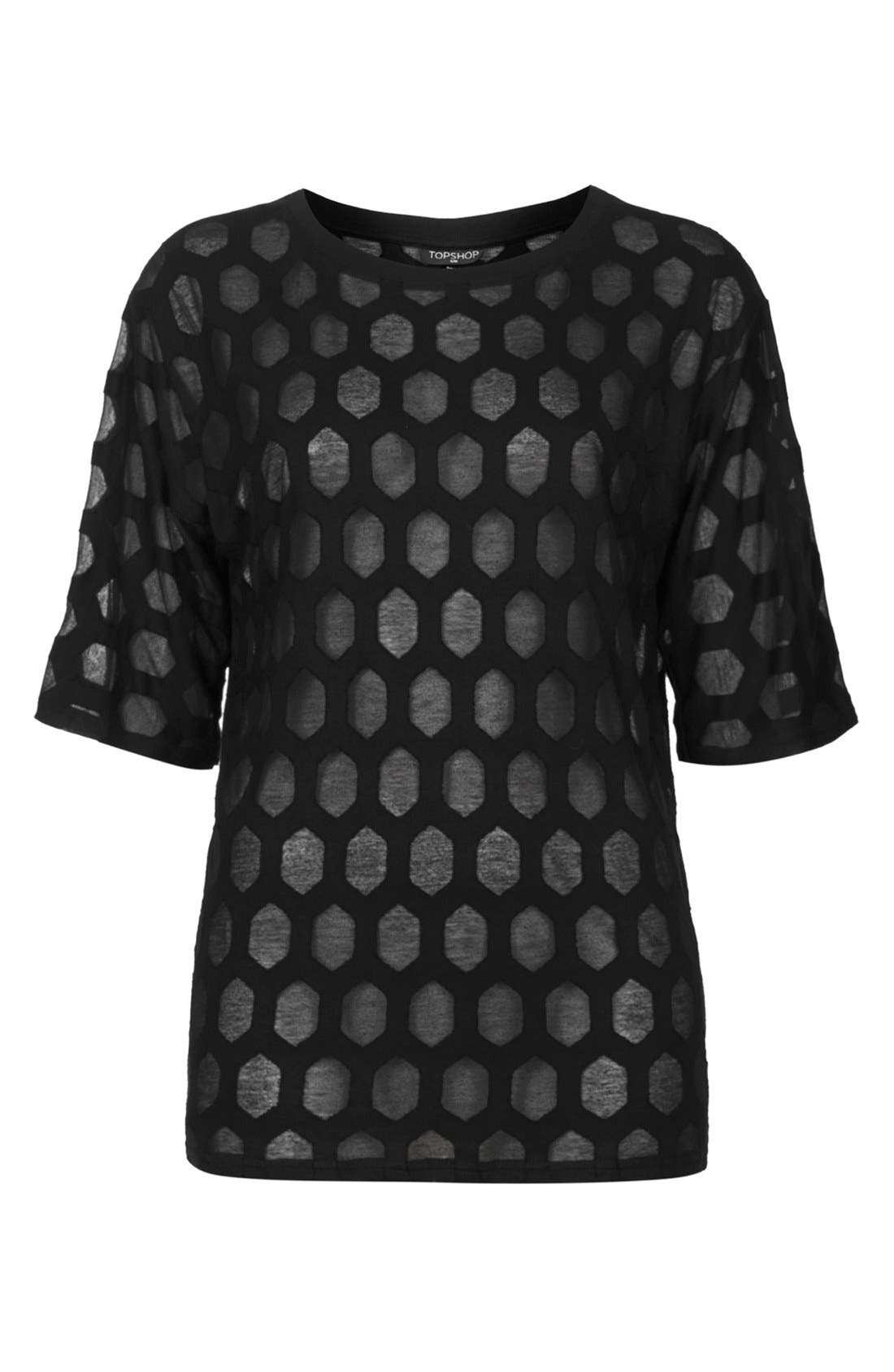Alternate Image 3  - Topshop Patterned Burnout Tee