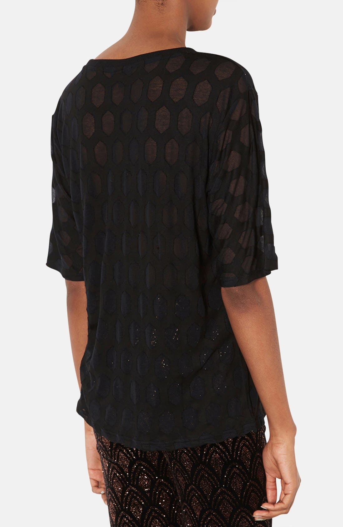 Alternate Image 2  - Topshop Patterned Burnout Tee