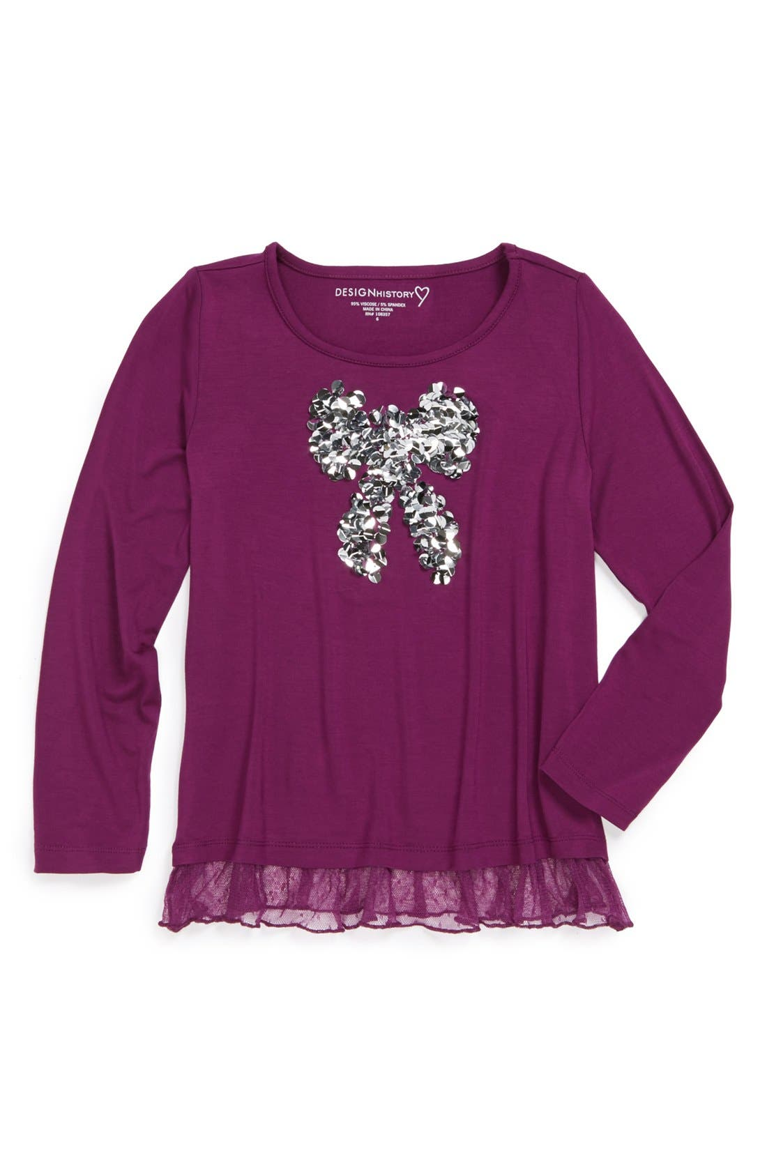 Main Image - Design History Shiny Bow Top (Little Girls)