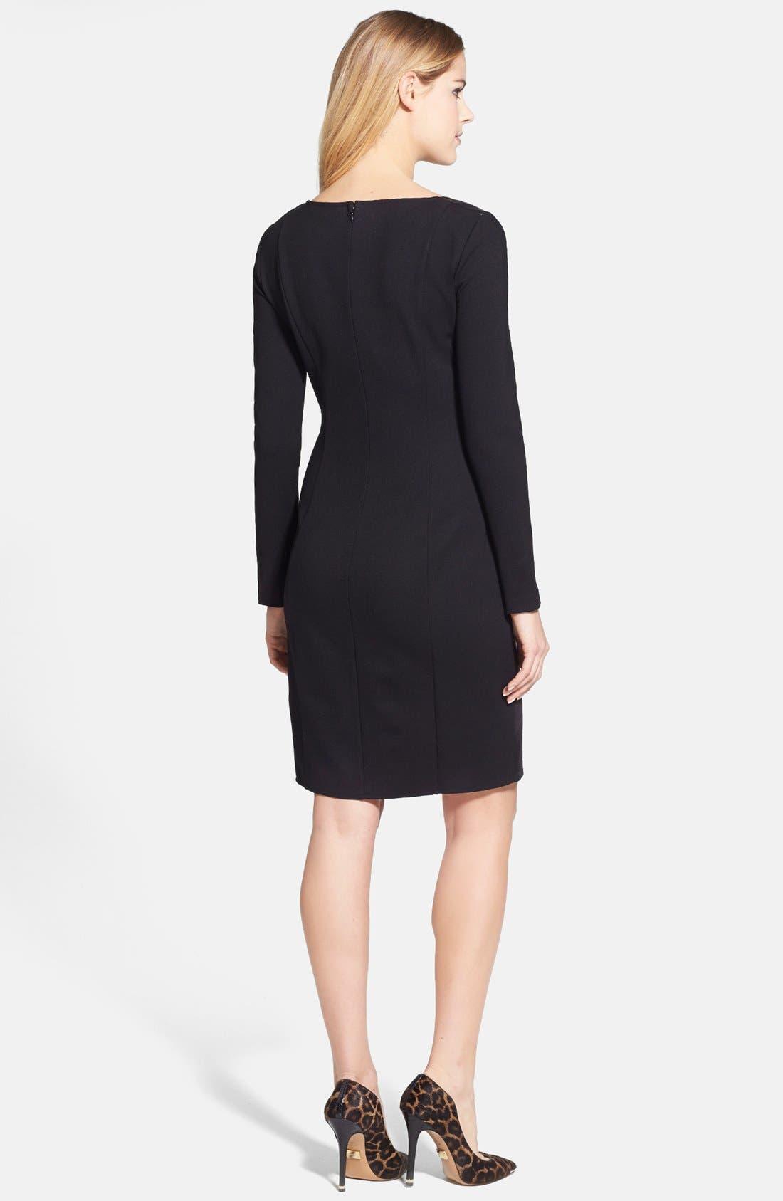 Alternate Image 2  - DKNYC Ponte & Faux Leather Sheath Dress