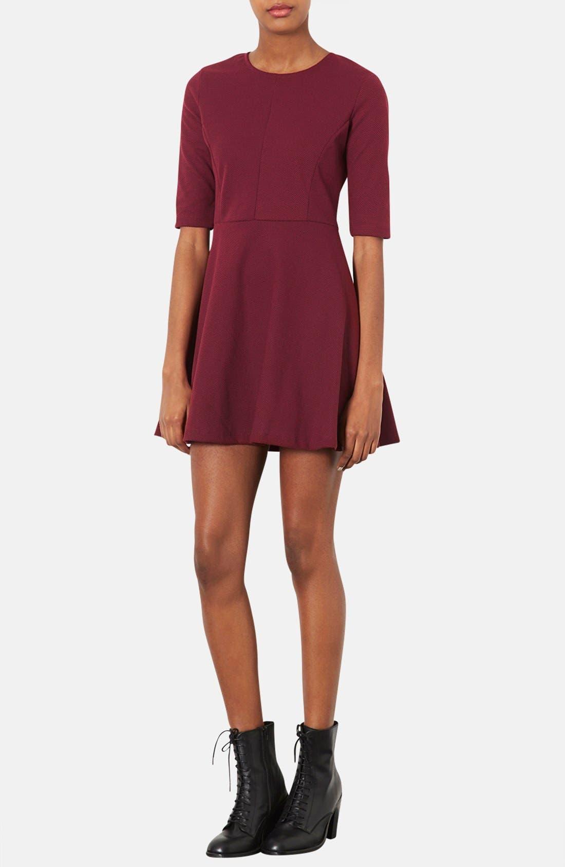 Main Image - Topshop Seamed Textured Skater Dress