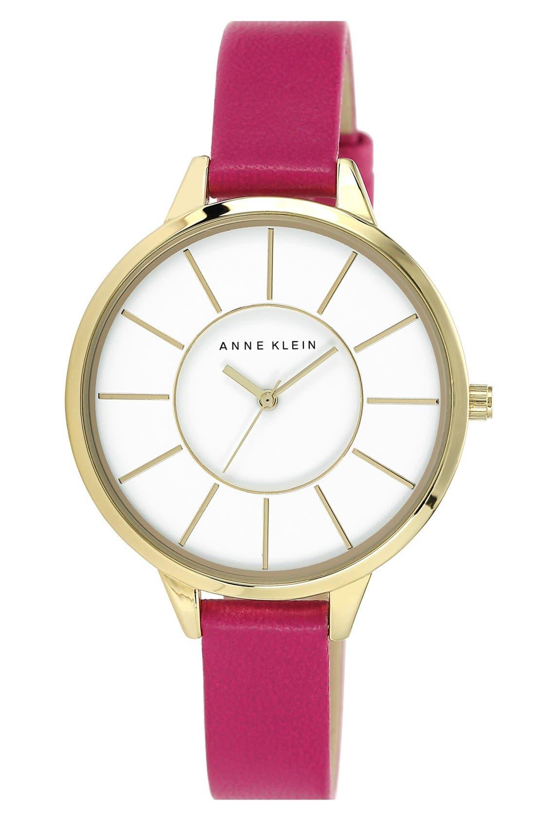 Main Image - Anne Klein Round Slim Leather Strap Watch, 38mm