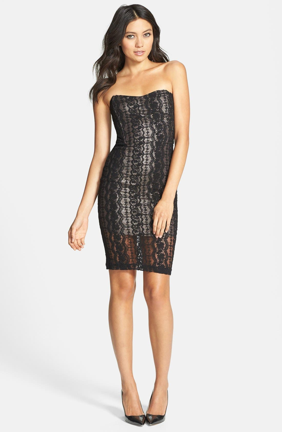 Alternate Image 1 Selected - Lucca Couture Strapless Lace Dress