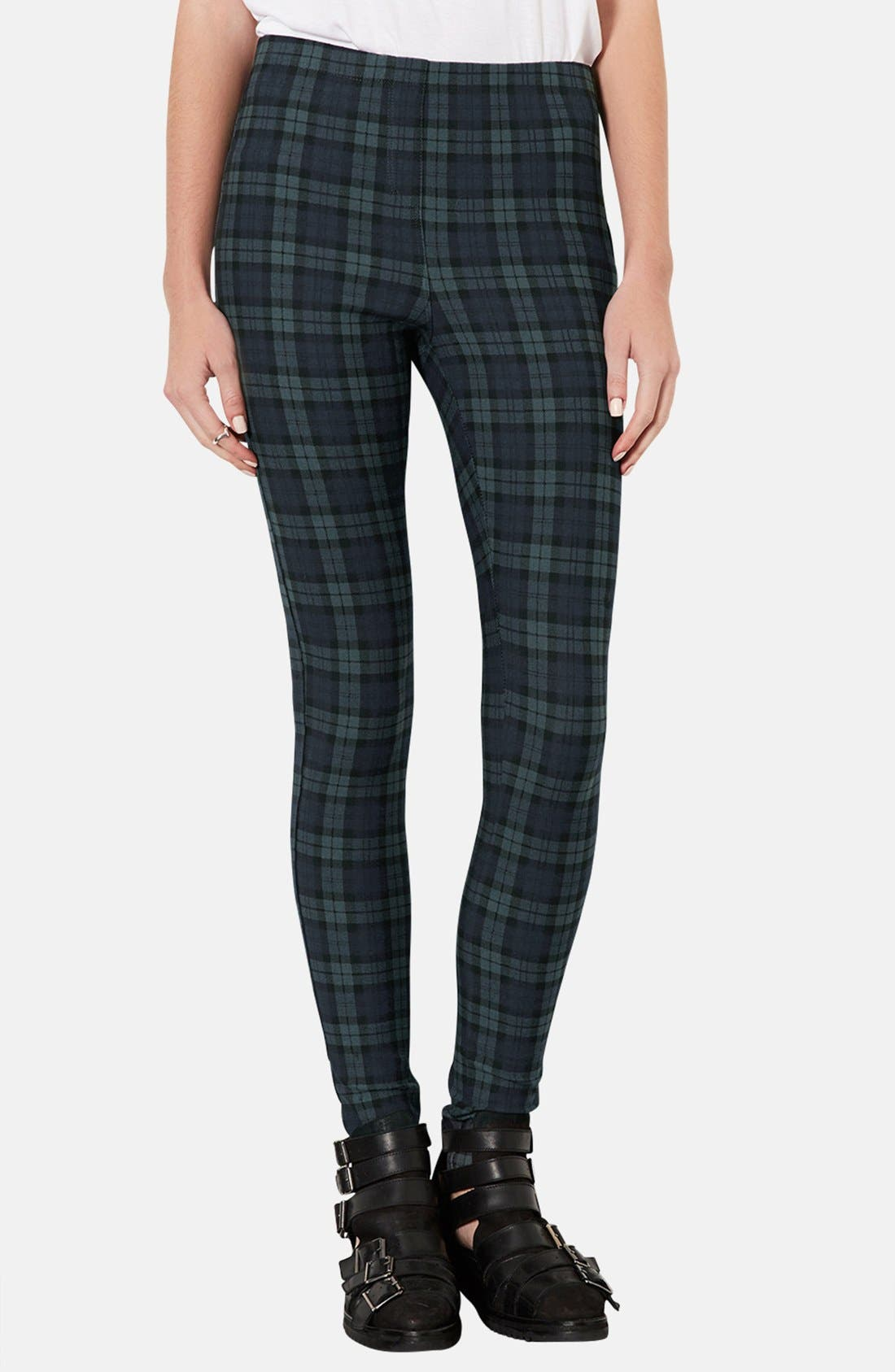Main Image - Topshop Checkered Denim Leggings