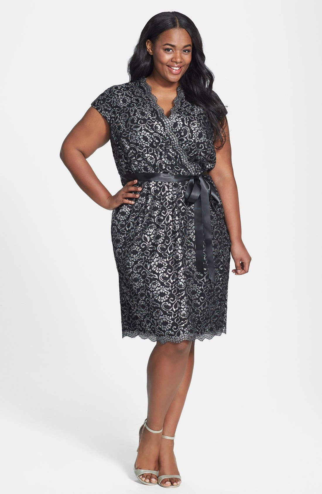 Alternate Image 1 Selected - Alex Evenings Belted Metallic Lace Dress (Plus Size)