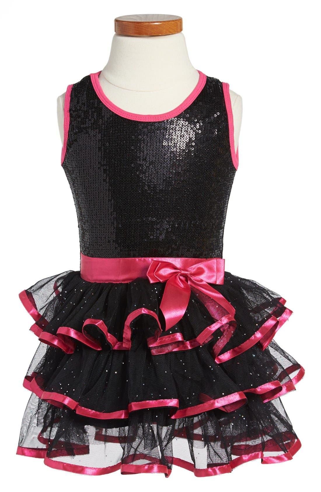 Main Image - Popatu Sequin Tiered Skirt Dress (Toddler Girls)