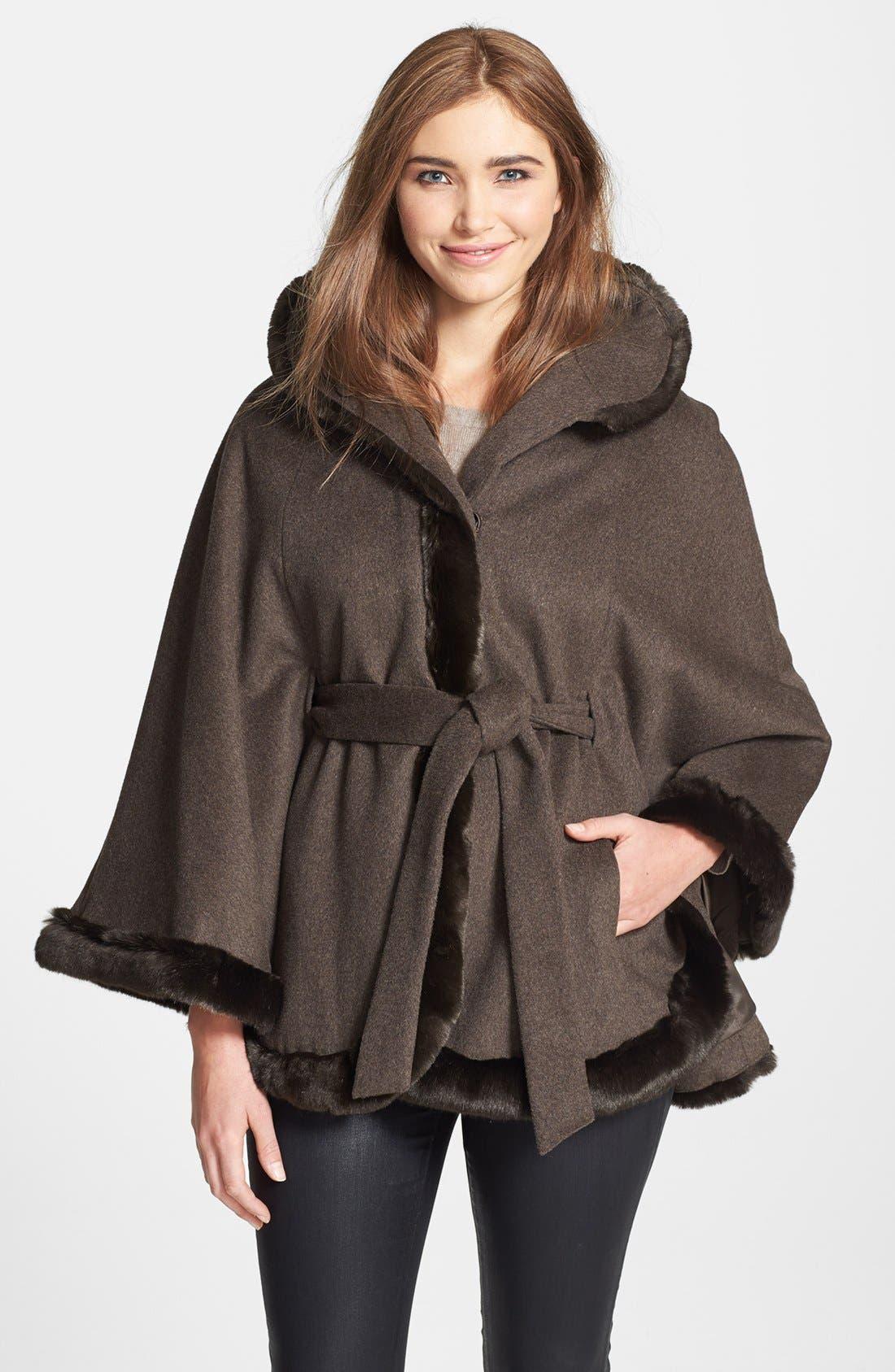 Alternate Image 1 Selected - Ellen Tracy Faux Fur Trim Belted Cape