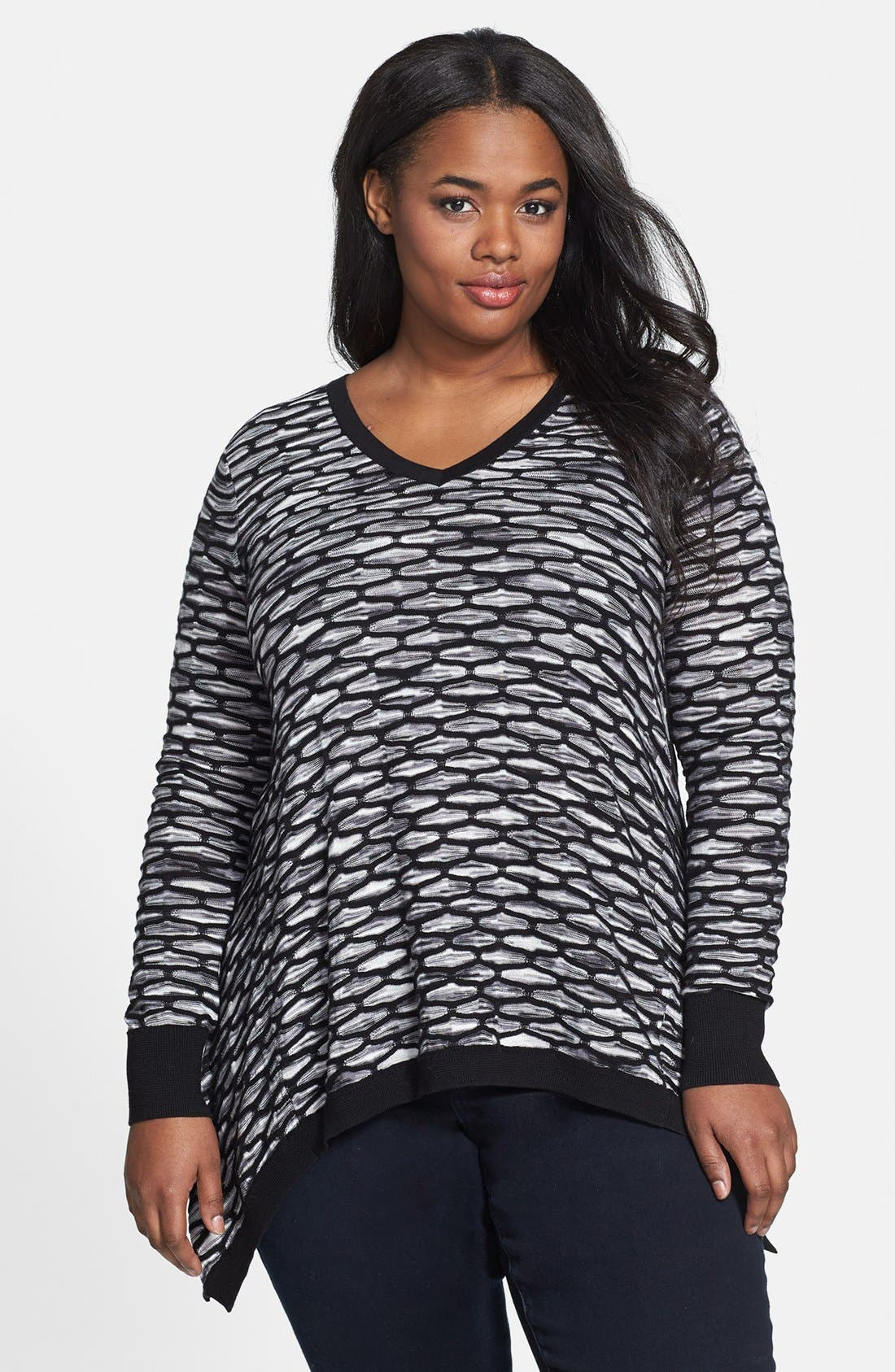 Main Image - Sejour Textured Tunic Pullover (Plus Size)