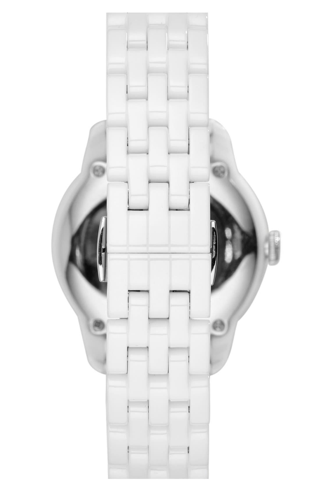 Alternate Image 2  - Emporio Armani Crystal Bezel Ceramic Bracelet Watch, 33mm