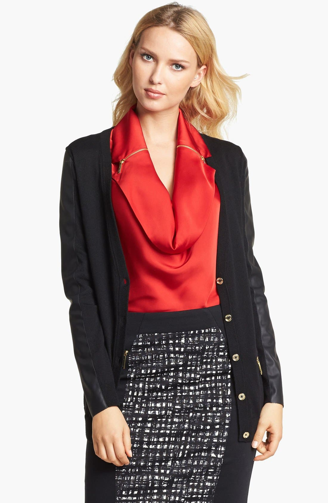 Main Image - MICHAEL Michael Kors Faux Leather Sleeve V-Neck Cardigan (Petite)