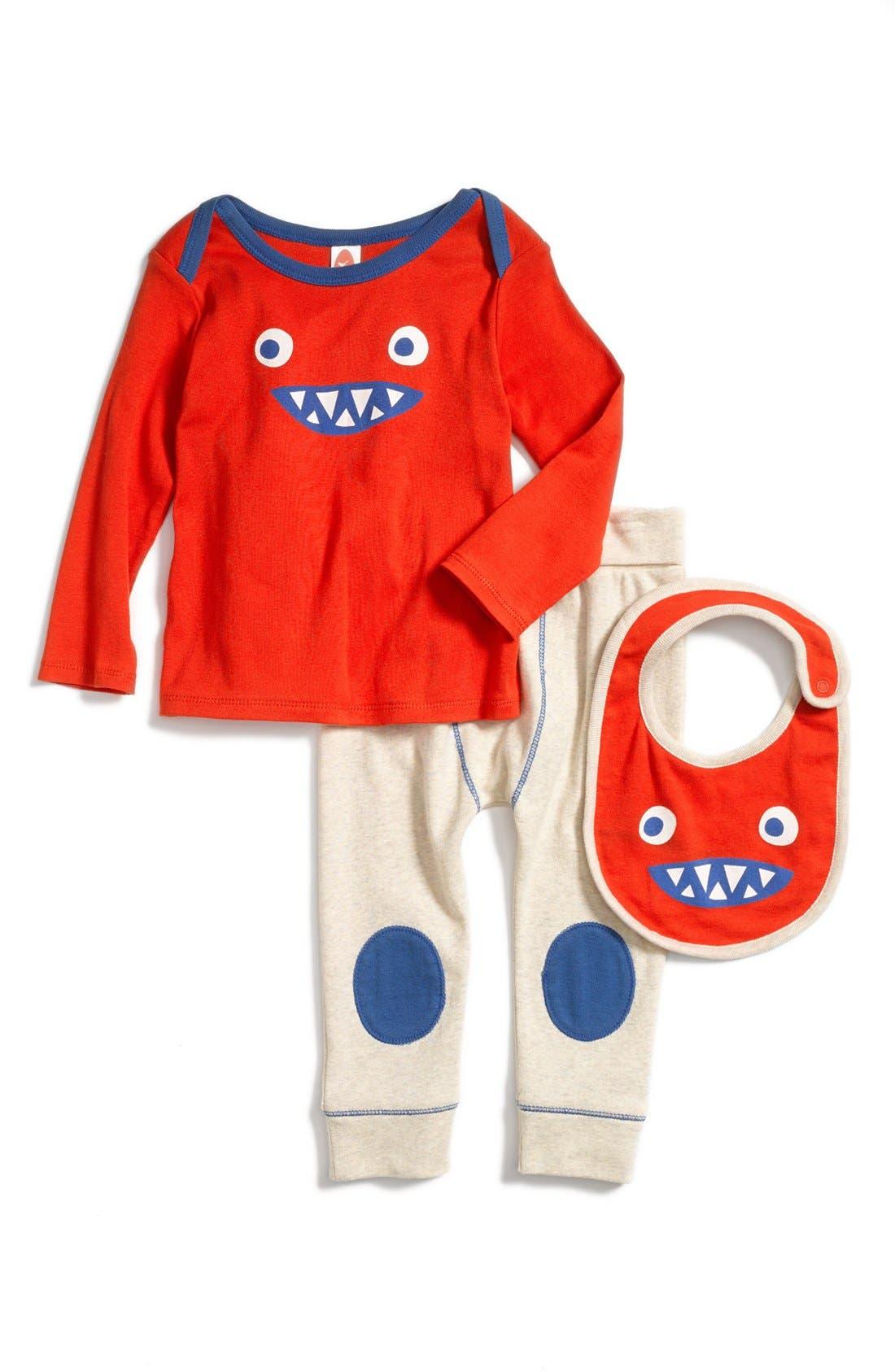 Alternate Image 1 Selected - Stem Baby Organic Cotton Shirt, Pants & Bib (Baby Boys)