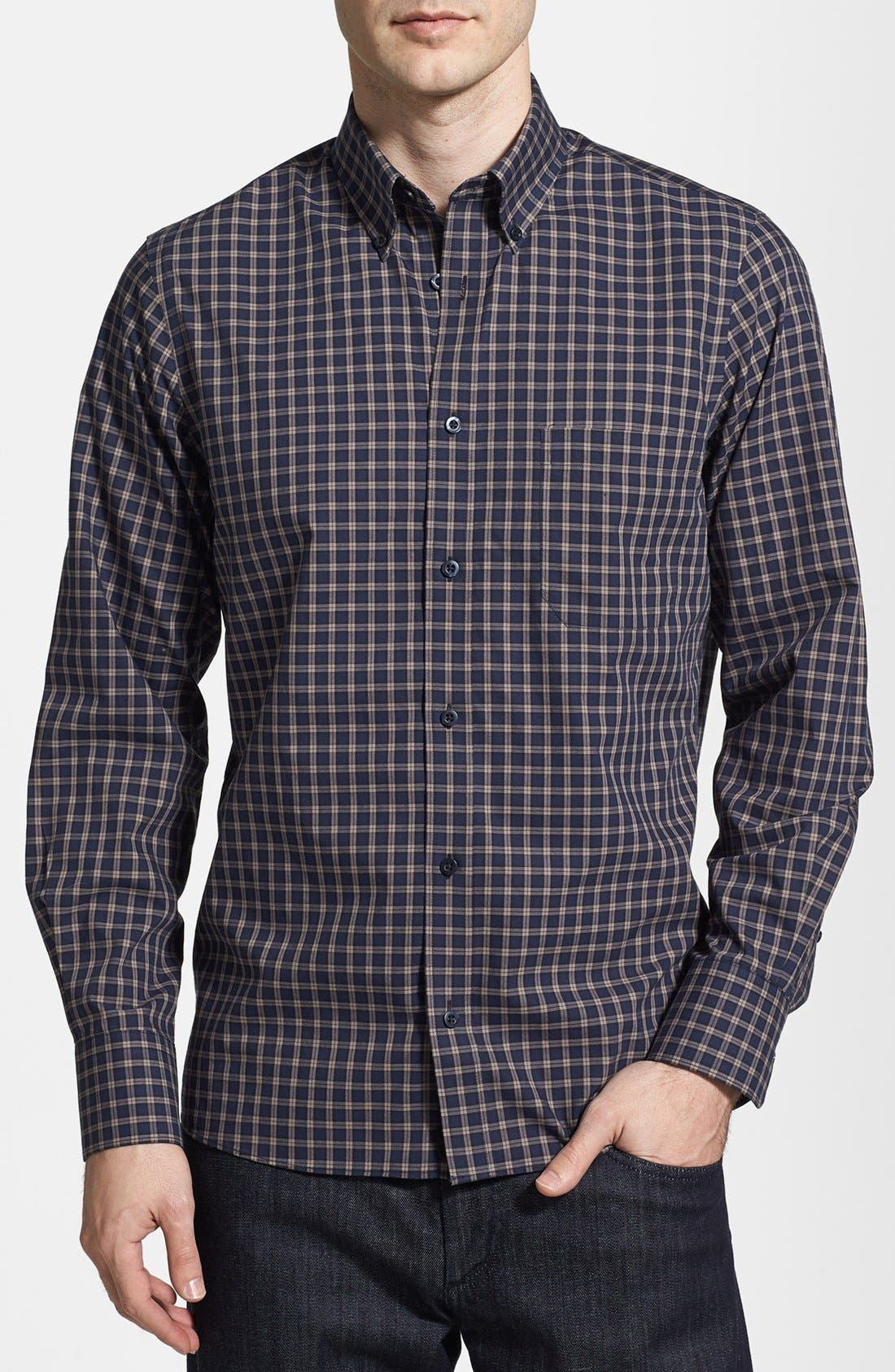 Alternate Image 1 Selected - Nordstrom Smartcare™ Trim Fit Plaid Sport Shirt