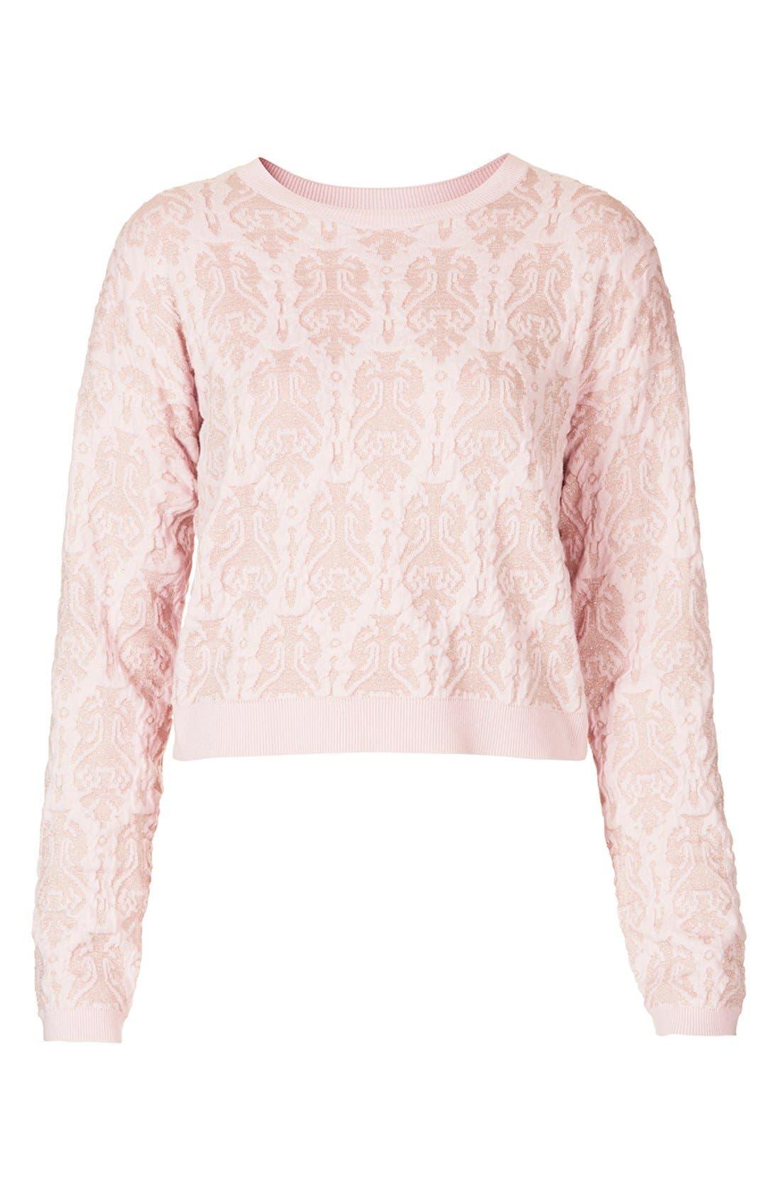 Alternate Image 3  - Topshop '3D Baroque' Metallic Quilted Sweater